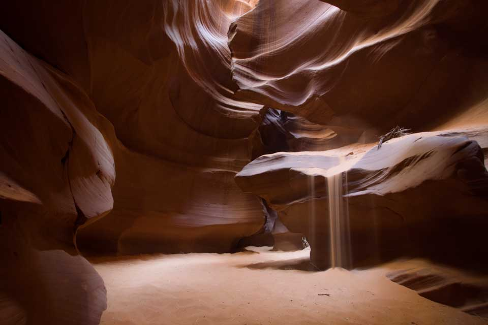 canyon interior with sand sliding down